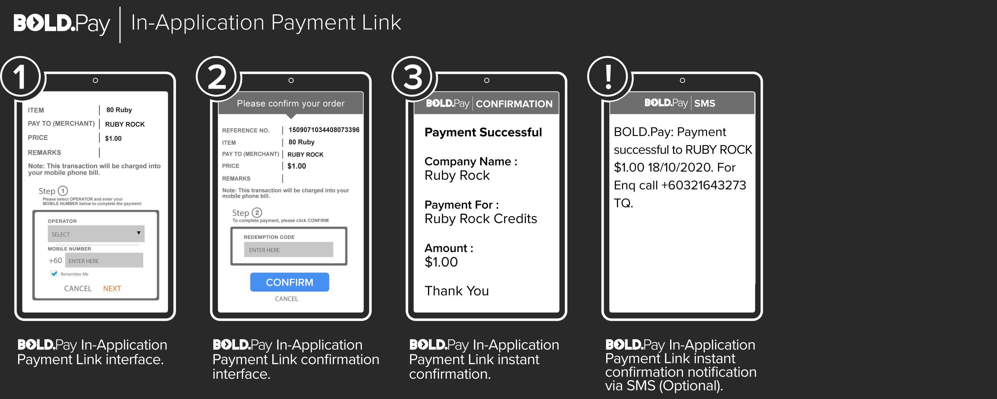 Bold.Pay in-apllication Payment Link
